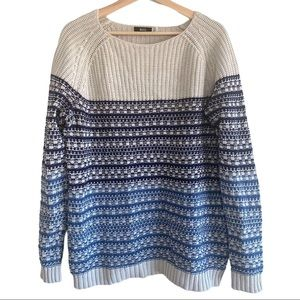 BDG Knitted Ribbed Blue and Cream Stripes Sweater